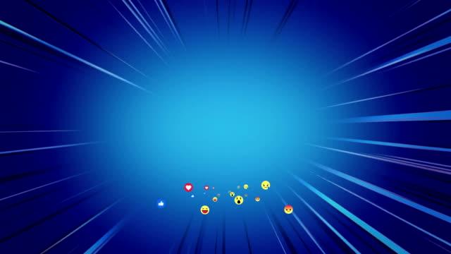 Emoji icons flying on blue background
