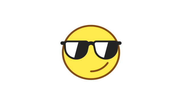 Emoticon wearing glasses and smiling. Animated Emoticons. Alpha channel