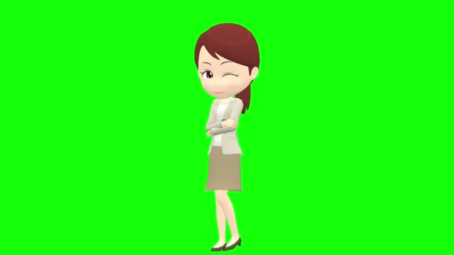 [Emotions B] Woman casual ponytail front whole body Japanese woman character full length stock videos & royalty-free footage