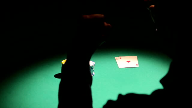 Emotions of successful poker player winning game in casino, celebrating video