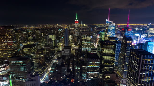 Empire State Building and New York City Aerial Night Timelapse video