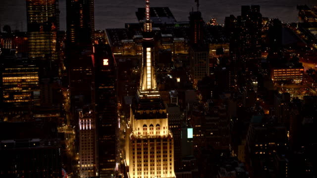 AERIAL Empire State Building at night video