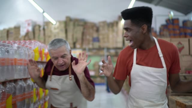Employee dancing at wholesale