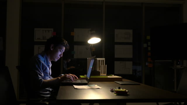 Employee man hard working with laptop to late night at office. Business people work overtime. Concept of relaxation is not enough. Employee man hard working with laptop to late night at office. Business people work overtime. Concept of relaxation is not enough. overworked stock videos & royalty-free footage