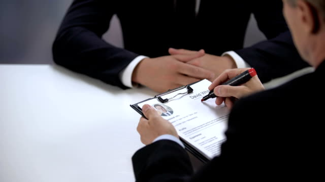 Employer crossing out candidate name in resume unsuccessful job interview result