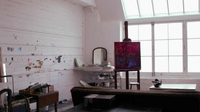 Empty Artist's Studio With Bright Natural Light Shot On R3D video