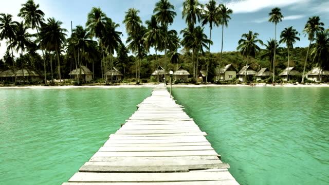 Empty beach and pier video