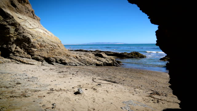 Empty Beach from inside Cave looking out , Pacific Coast Highway California Coast