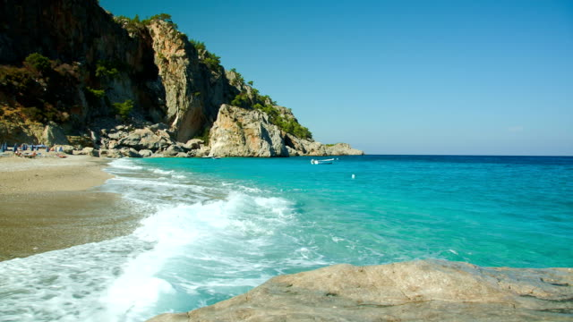 stockvideo's en b-roll-footage met hd: empty beach kyra panagia, karpathos - middellandse zee