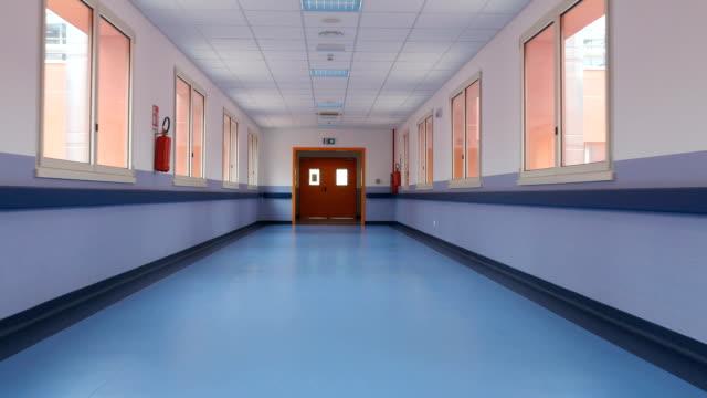 Empty building corridors during a quarantine.