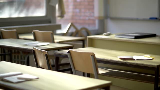 Empty classroom in the school