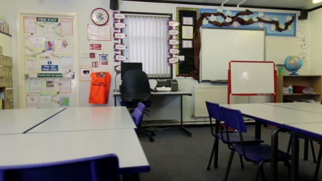 dolly: leere klassenzimmer - grundschule stock-videos und b-roll-filmmaterial