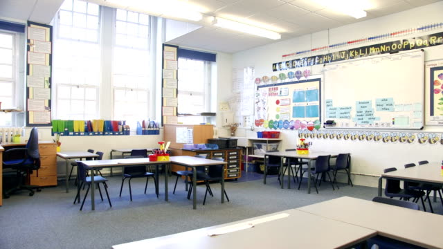 Empty Classroom A panning video of an empty classroom, this is a typically British classroom with a modern vibe. There are large windows where the light is shining in. elementary age stock videos & royalty-free footage