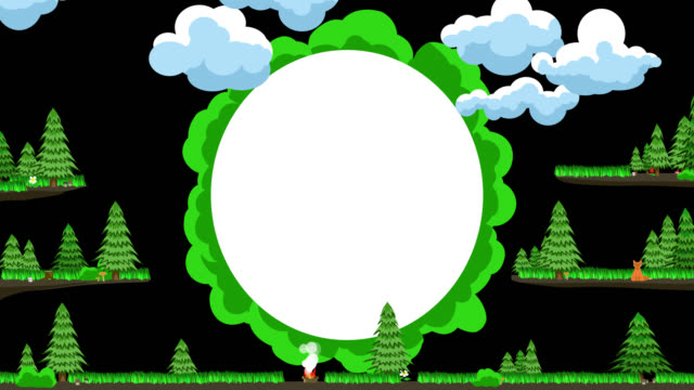 leere wolke für text im stil einer illustration zum thema wald, picknickund wandern. - geköpft stock-videos und b-roll-filmmaterial