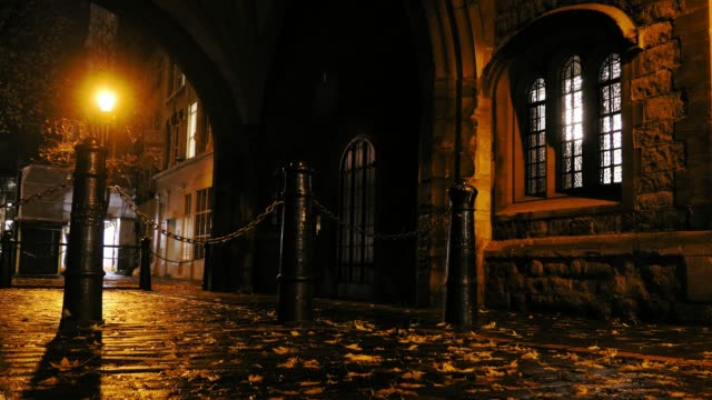 Empty Cobbled Street in London at Night