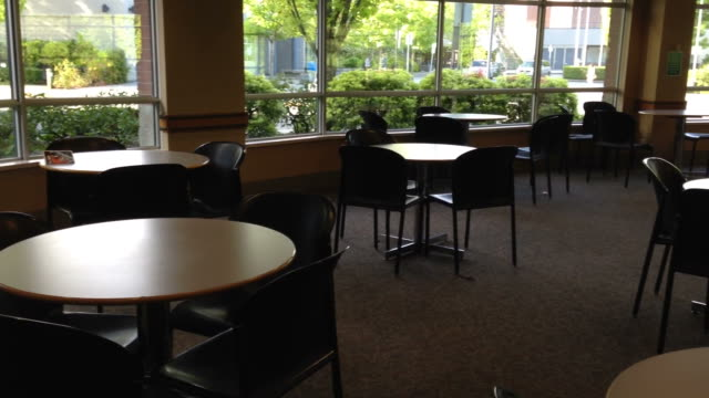 Empty college cafeteria Empty college cafeteria cafeteria stock videos & royalty-free footage