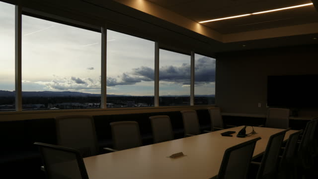 Empty corporate conference room in 4k time lapse