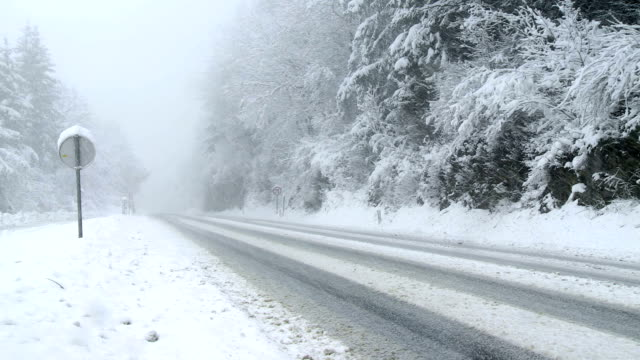 Empty Country Road In A Snowstorm video