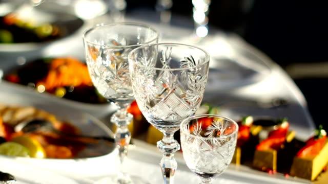 empty crystal wine glasses video