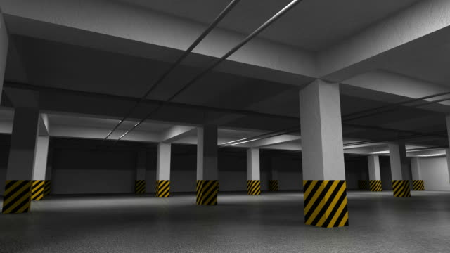 Empty dark underground parking interior. 3d animation with camera rotation video