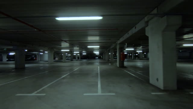 empty dark underground parking - sottosuolo video stock e b–roll