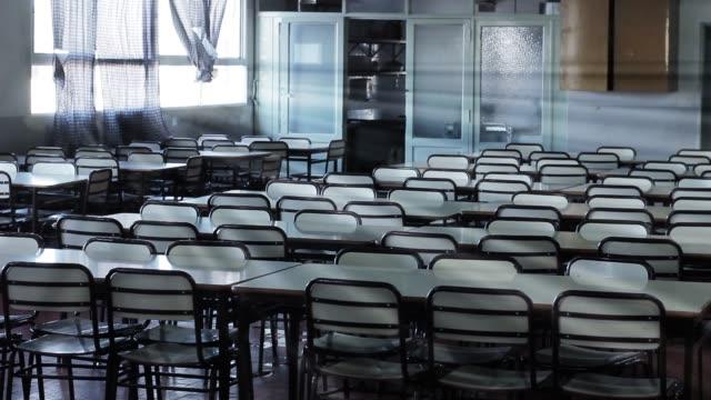 Empty Desks In School Classroom.