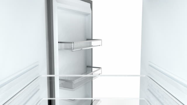 Empty fridge, view from the inside Opening and closing the door of an empty fridge, view from the inside fridge stock videos & royalty-free footage