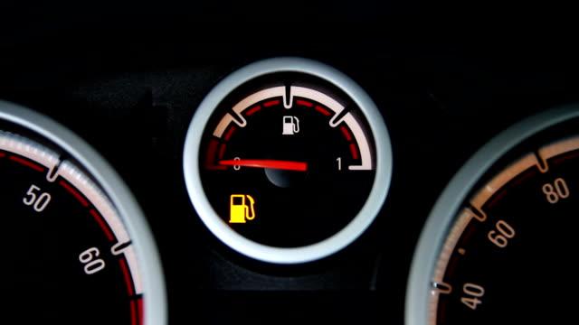 Empty fuel tank warning Empty fuel tank warning light. refueling stock videos & royalty-free footage