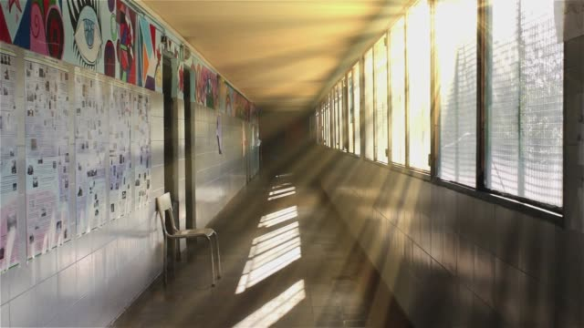 empty hall of a school with sunbeams. - entrata video stock e b–roll