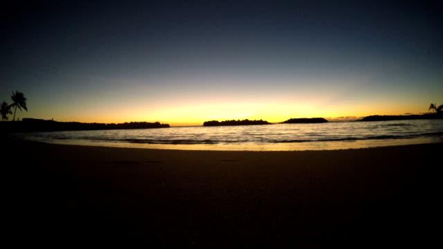 Empty Hawaiian Lagoon Beach at Sunset video