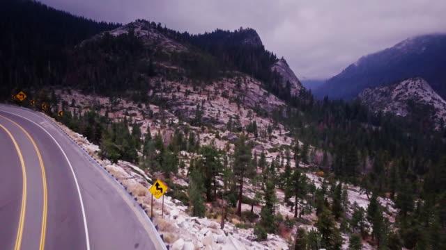 Empty Highway in Sierra Nevada- Aerial View video