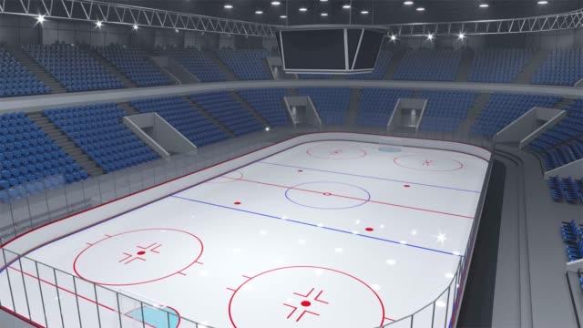 Empty hockey stadium, span under the roof. Empty hockey stadium, span under the roof. 3d animation seat stock videos & royalty-free footage