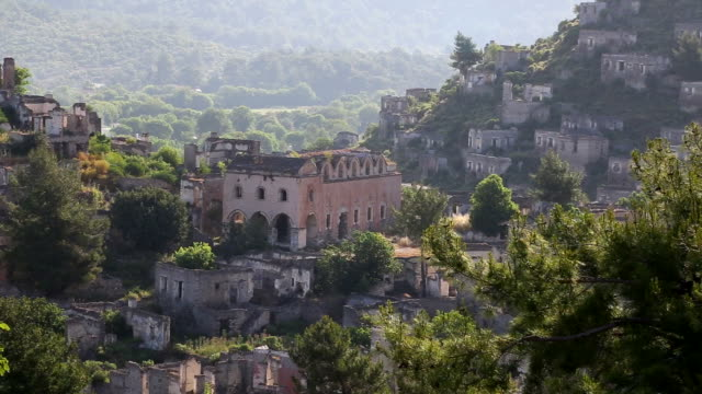 Empty houses and Orthodox church ruins in Kayakoy village, Fethiye video