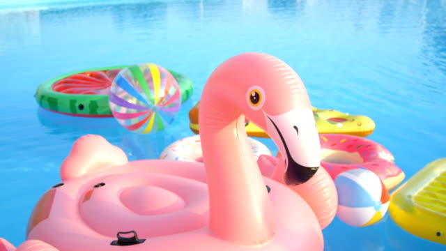 Empty inflatable flamingo, doughnuts, pineapple and watermelon floats in pool video