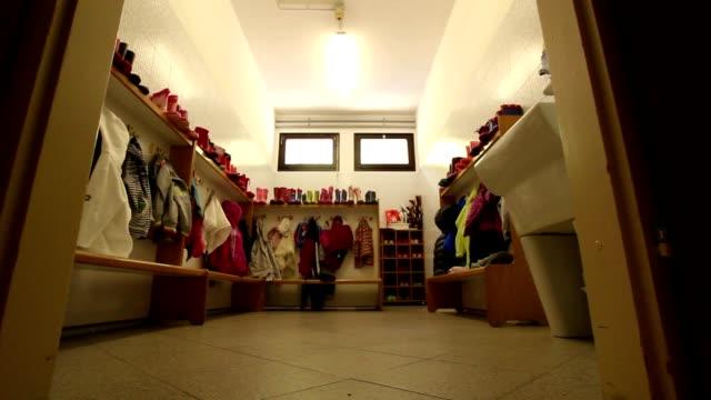 Empty kindergarten changing room video