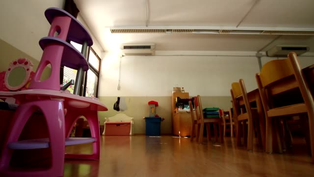 Empty kindergarten classroom Empty kindergarten classroom playroom stock videos & royalty-free footage