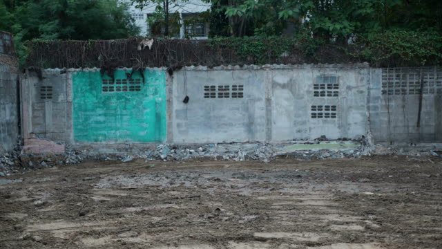 Empty land with wall background.