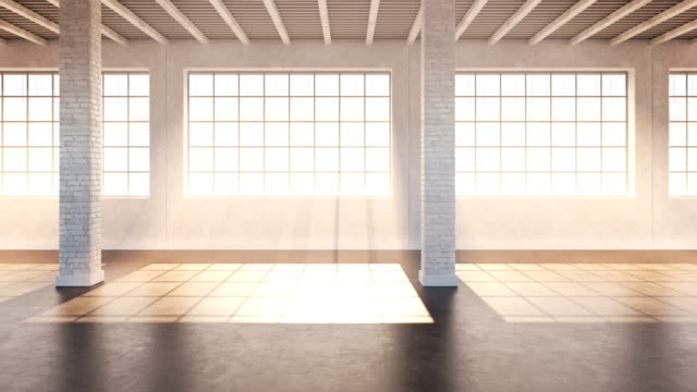 Empty loft. 4K loopable Interior studio view. loft apartment stock videos & royalty-free footage