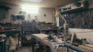 istock Empty metal workshop 1181427985