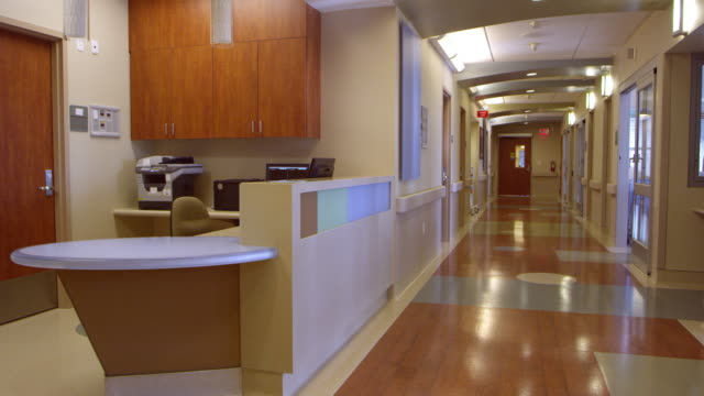 Empty Nurses Station And Corridor In Hospital Shot On R3D