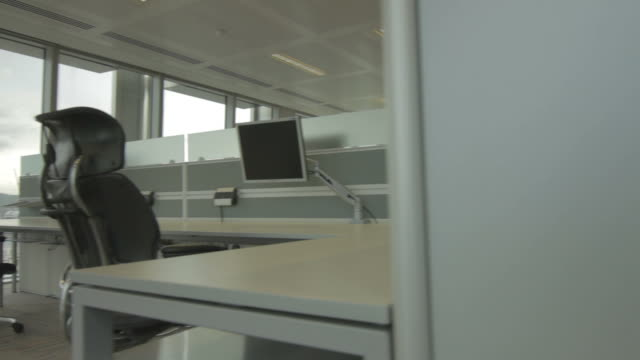 Empty Office Desks Dolly Shot video