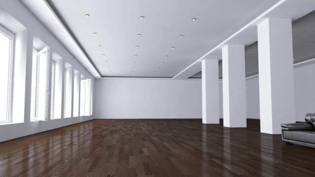 vídeos de stock e filmes b-roll de vazio interior de escritório - white wall