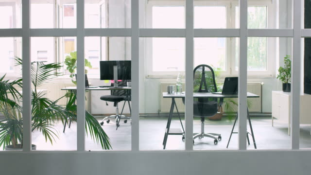 Empty Office Transition focus video of empty office, goes form defocus to focus the image. brightly lit stock videos & royalty-free footage