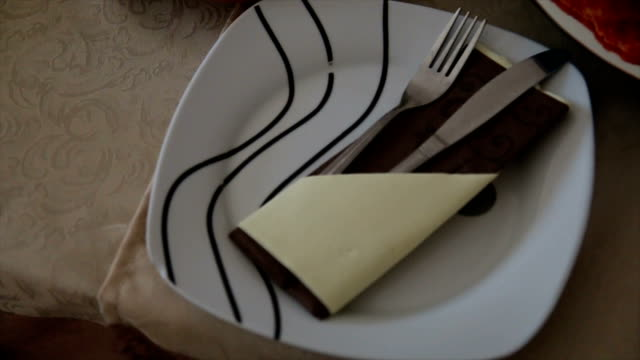 Empty plate and silverware set video