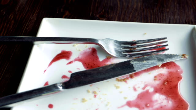 Empty plate smeared with fruit syrup video