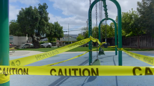 Empty playground in Mountain View, California at Coronavirus pandemic time. video