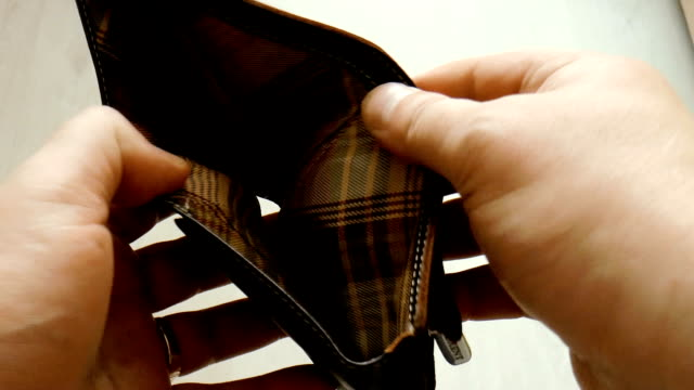 empty purse in hands - bankruptcy stock videos & royalty-free footage