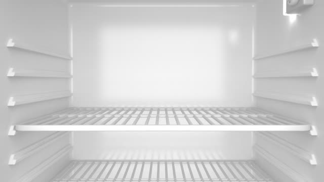 Empty refrigerator Empty white refrigerator, slide from top to the bottom fridge stock videos & royalty-free footage