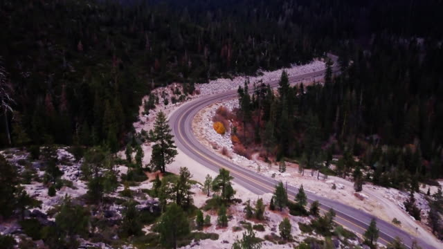 Empty Road in Remote Sierra Nevada Pass - Aerial View video