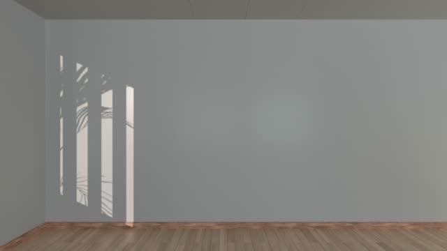 vídeos de stock, filmes e b-roll de sala vazia e sombras, marca, renderização 3d. - wall texture